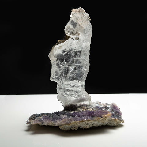 Gypsum Var. Selenite on Amethyst from Rio Grande do Sul, Brazil