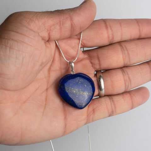 Genuine Polished Lapis Lazuli Heart Pendant with Sterling Silver Chain
