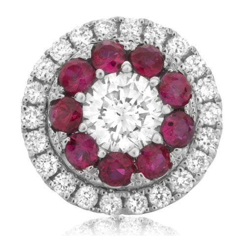 14k White Gold Ruby Earring (UE1801-1)