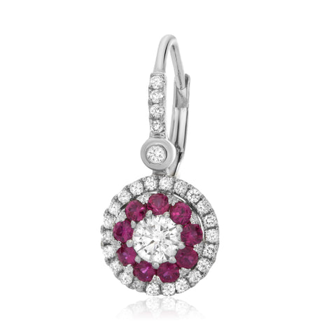 14k White Gold Ruby Earring (UE1803-1)
