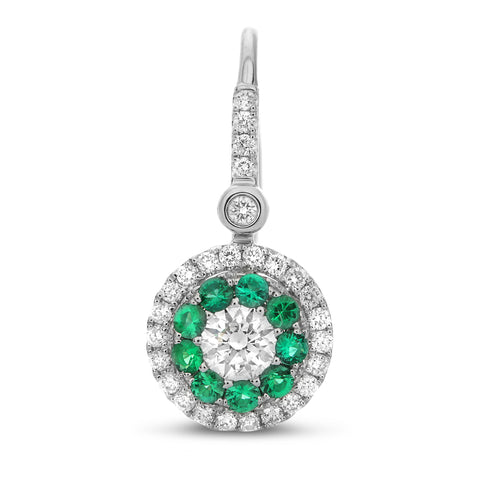 14k White Gold Emerald Earring (UE1803-3)