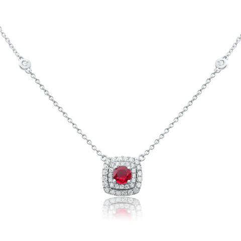 14k White Gold Ruby Necklace (UN1827-4)