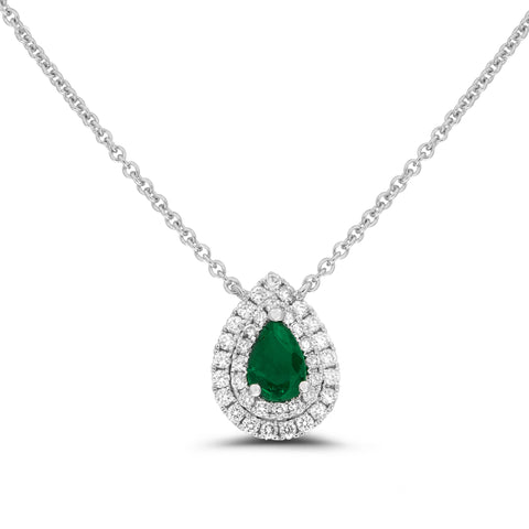 18k White Gold Emerald Necklace (UN1919-5)