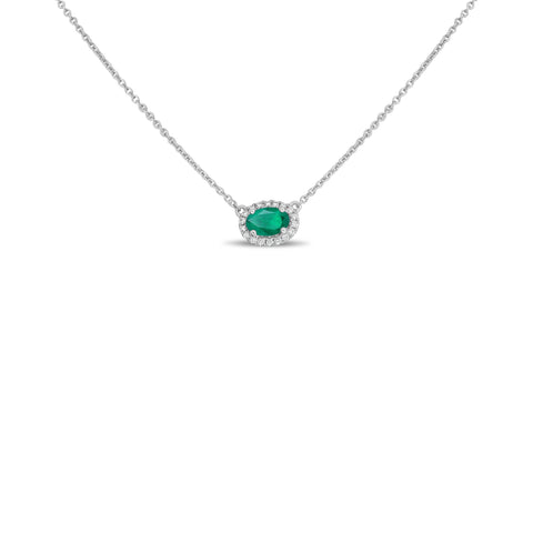 18k White Gold Emerald Necklace (UN1971-12)