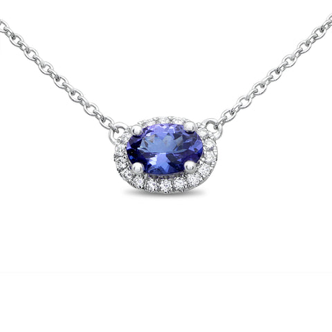 14k White Gold  Nickel Free Tanzanite  Necklace (UN1971-2)
