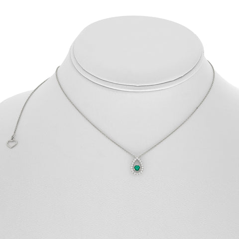 14k White Gold Emerald Necklace (UN2061-5)