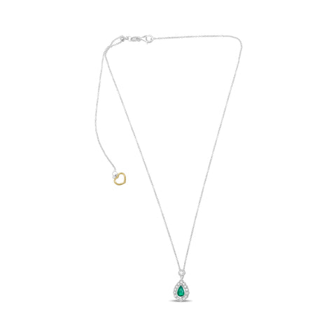 18k White Gold Emerald Necklace (UN2065-3)