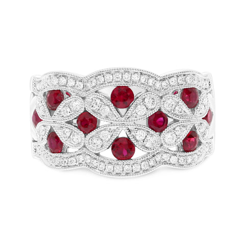 14k White Gold Ruby Ring (UR1528WRB)