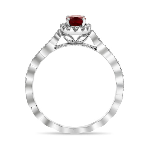 14k White Gold Ruby Ring (UR1613F-5)