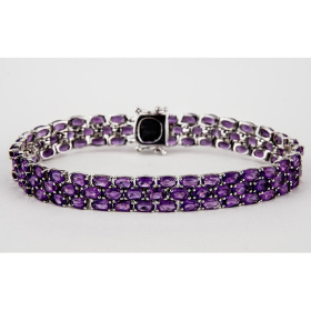 3 row Amethyst Gemstone Tennis Bracelet