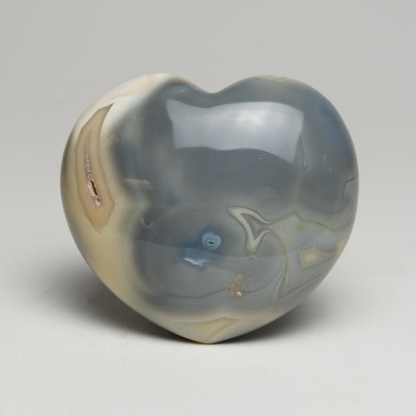 Blue Chalcedony Orca Stone Heart from Madagascar (1 lbs)