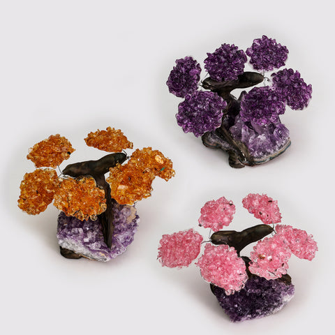 Small Three Set of Gemstone Trees on Amethyst Matrix