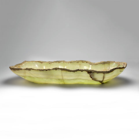 Large green Onyx Canoe Bowl From Mexico (27.5 lbs)