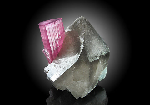 Pink Tourmaline in Smoky Quartz From Afghanistan