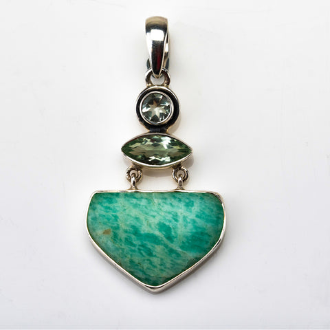 Amazonite with Green Topaz Pendant