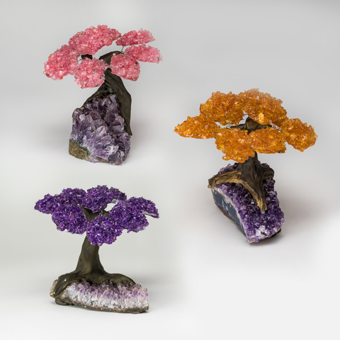 Medium Set of Three Gemstone Trees on Amethyst Matrix