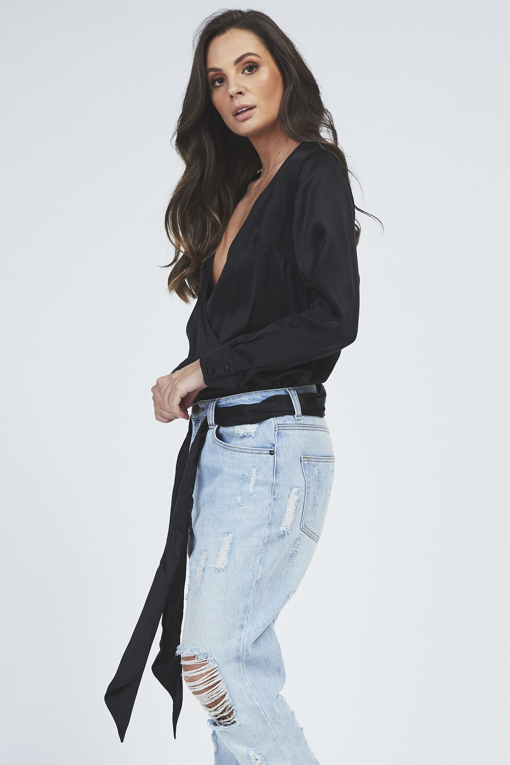 Cora Wrap Top - Black