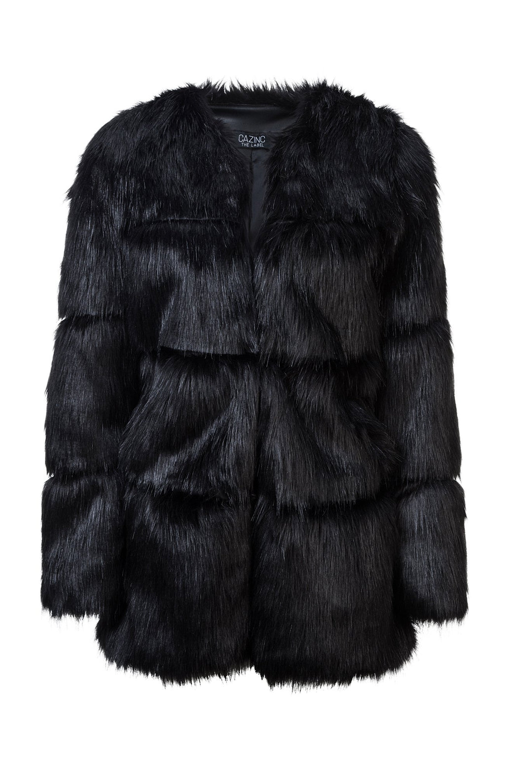 Faux Fur Panelled Coat - Black