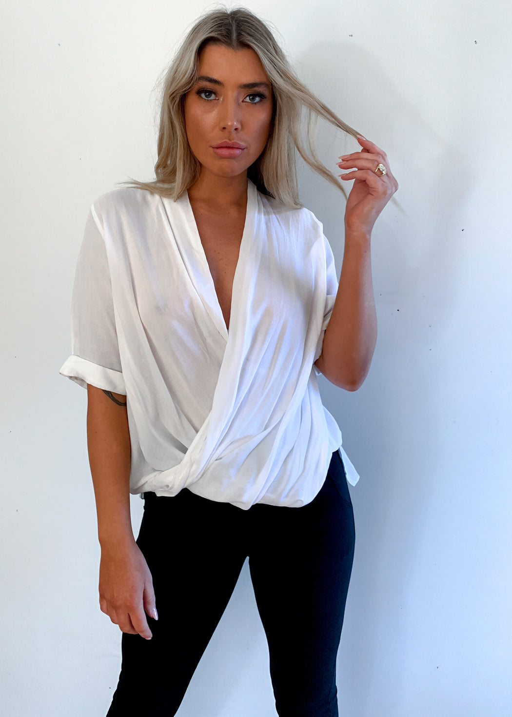 The Good Life Drape Top - White