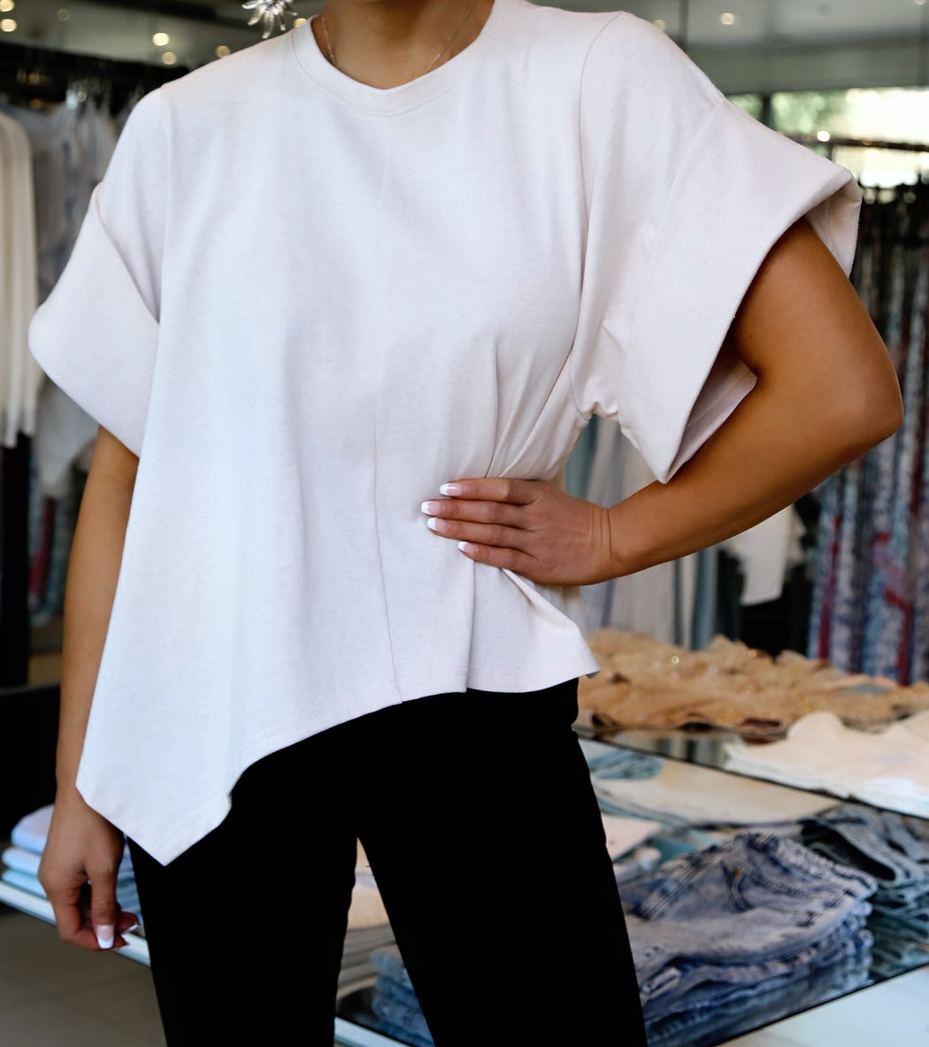 Weekend Boxy Roll Sleeve Tee - Sand