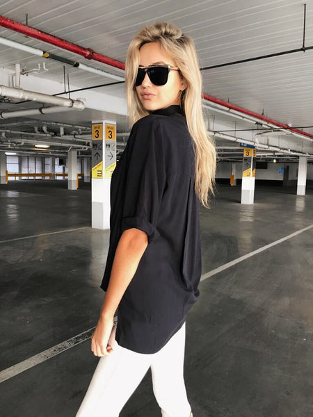 The Good Life Drape Top - Black