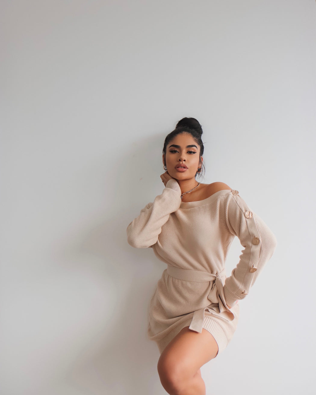 Pillowtalk Knit Dress- Nude