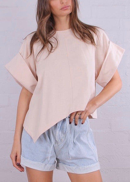 Weekend Boxy Roll Sleeve Tee - Nude