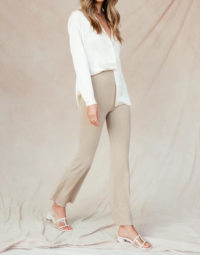 Maison Ribbed Lounge Pant - Latte