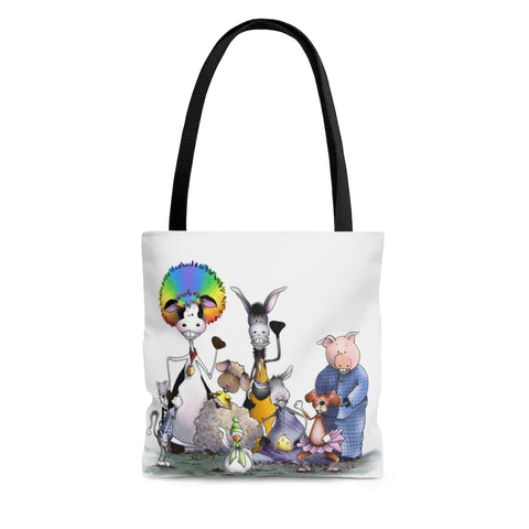 Silly Cow and Gang Waving Tote Bag