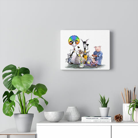 Silly Cow and Gang Waving on Canvas