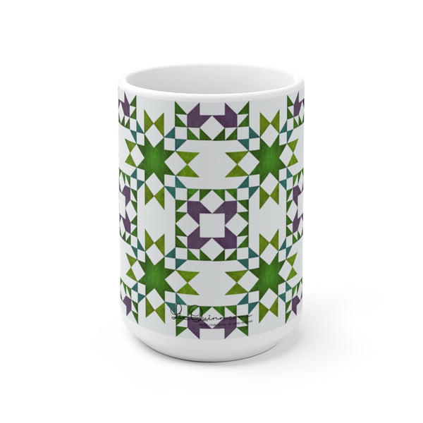 Stars and Tulips Quilted Ceramic Mug