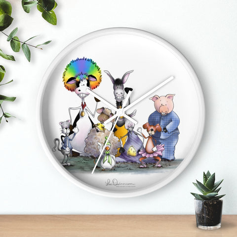 Silly Cow and Gang Waving Wall clock