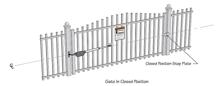 Linear Pro SW3000XLS gate operator diagram in closed position