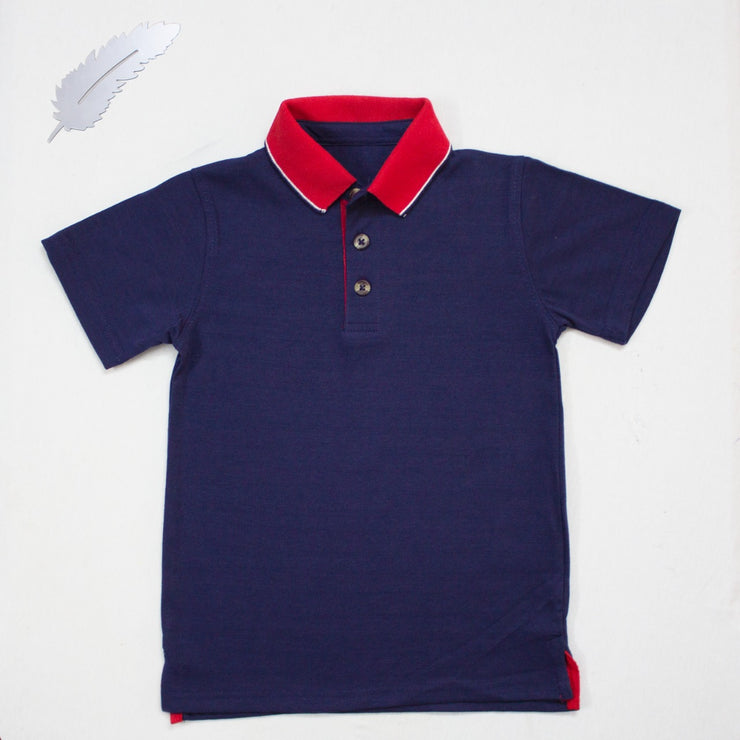 BLUE POLO SHIRTS WITH RED COLLAR