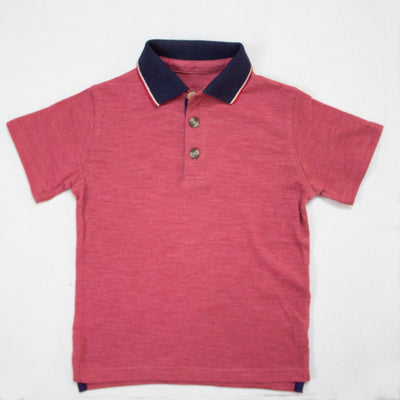 RED POLO SHIRTS WITH BLUE COLLAR
