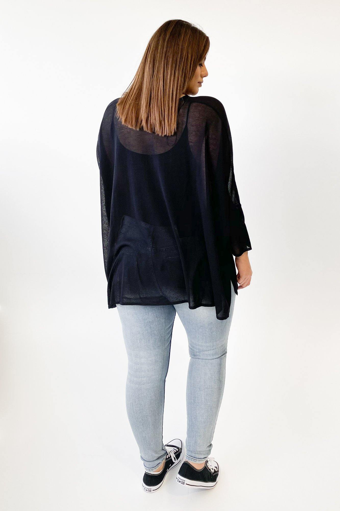 17 Sundays Drop Hem Gauze Knit Top Black