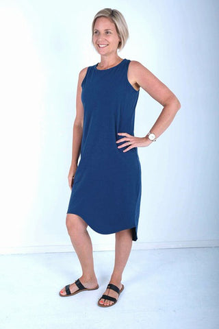 SILENT THEORY - ONE IN EIGHT MIDI DRESS - INK BLUE