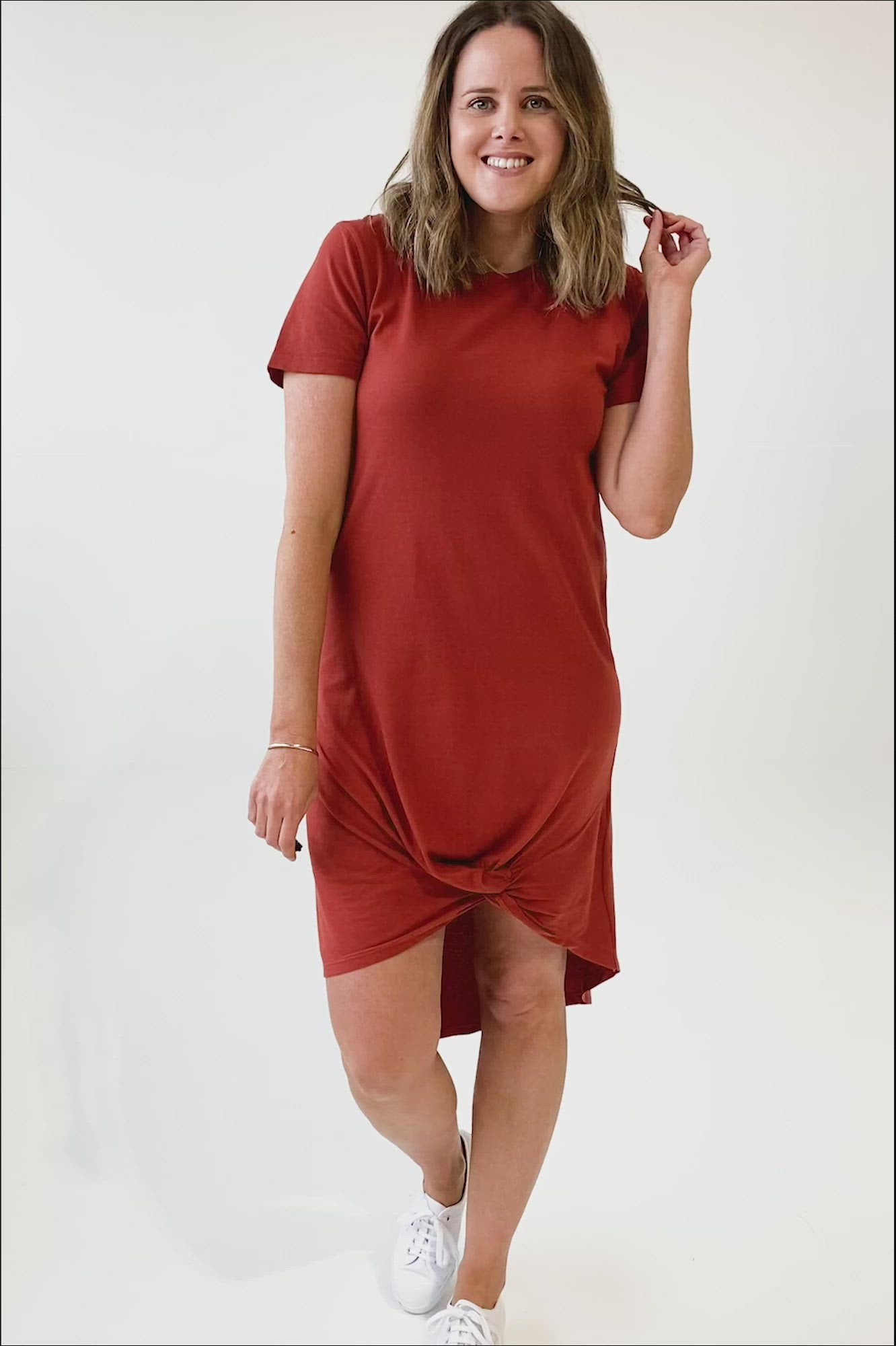 Silent Theory Twisted Tee Dress Rust