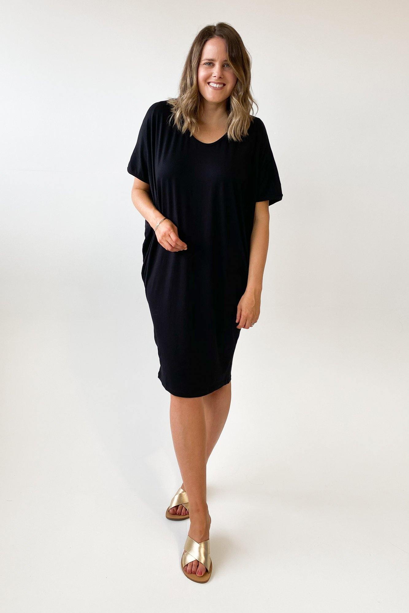 Adrift Batwing Sleeve Dress Black