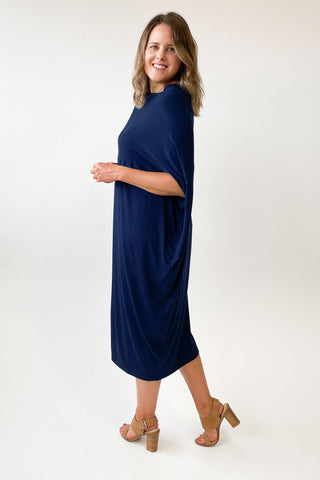 Adrift Cocoon Dress Navy - Shine On