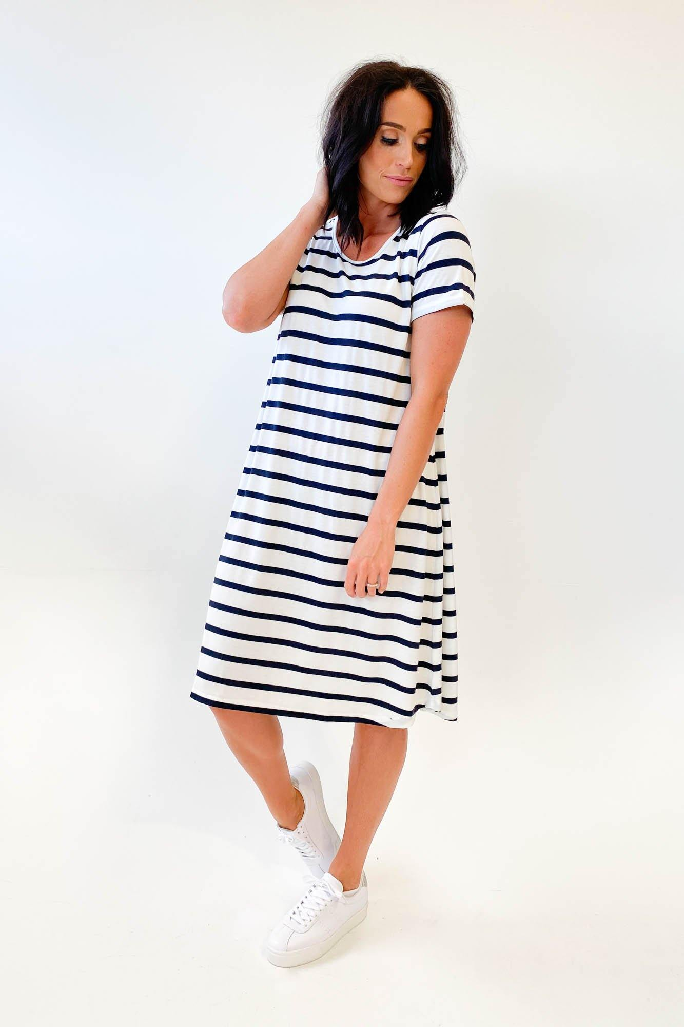 Adrift Swing Dress French Stripe