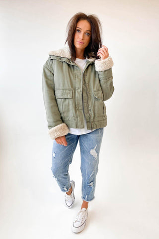 All About Eve Utility Sherpa Jacket Khaki
