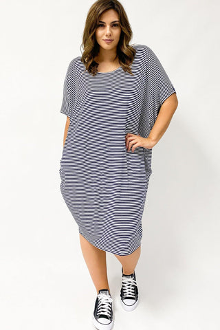 Betty Basics Maui Dress Blue & White Stripe