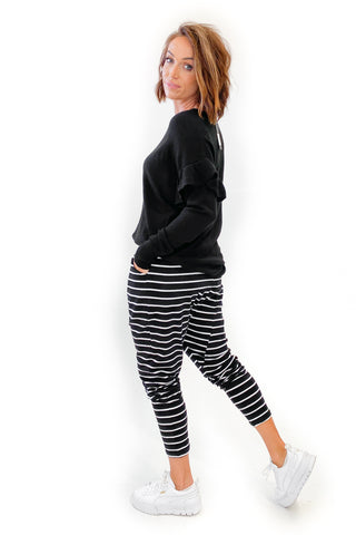 Betty Basics Jade Pants Black/White Stripe