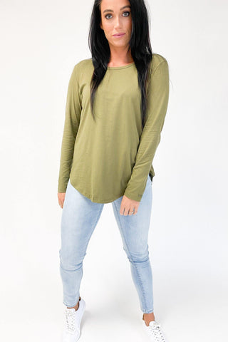 Betty Basics Megan LS Top Khaki