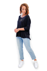 Betty Basics Milan 3/4 Sleeve Tee Black (Milan40)