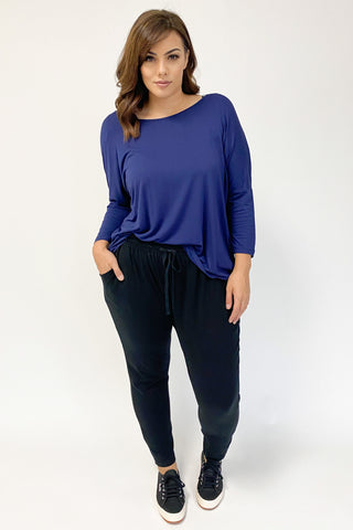 Betty Basics Milan 3/4 Sleeve Tee In Navy (Milan40)