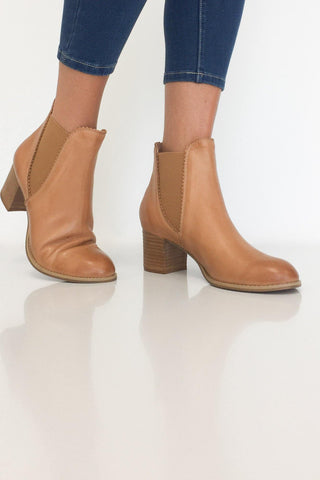 Django & Juliette Sadore Dk Tan Leather Boot