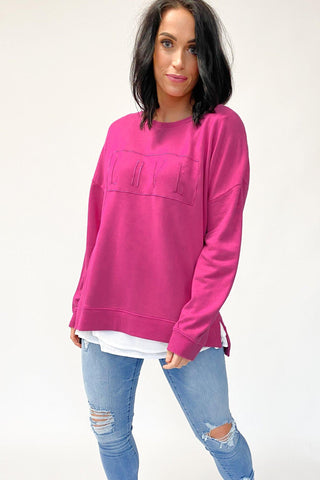 Elm Love Fleece Crew Pink