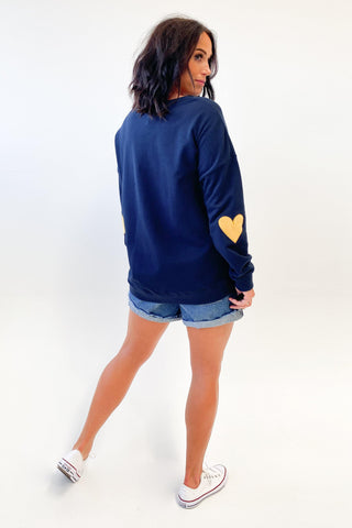 Elm Heartbeat Crew Navy With Mustard Heart